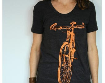 Bike T-shirt Womens Fitted Orange Bicycle Screenprint