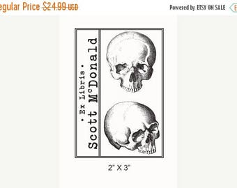 Super Summer Sale Personalized Anatomical Skulls Human Anatomy Ex Libris Bookplate Rubber Stamp F21