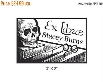 Super Summer Sale Skull and Book Calaveras  Personalized Ex Libris Library Stamp Rubber Stamp H30