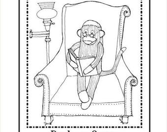 Xmas in July Personalized Ex Libris Bookplate Rubber Stamp Sock Monkey Reading Original Art C10 featured artist