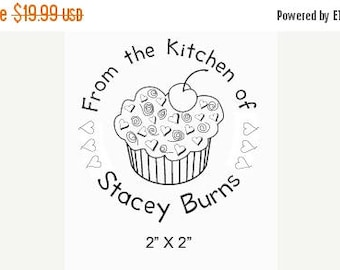 Xmas in July Cupcake with Hearts and Cherry From the Kitchen Custom Rubber Stamp G10
