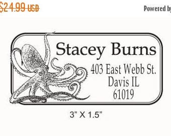 Xmas in July Octopus Custom Return Address Rubber Stamp AD77