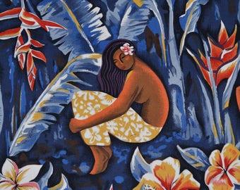 Hawaiian fabric Hula Island Girls Hoffman 1999 fabric Hoffman style STI029 OOP tropical floral fabric