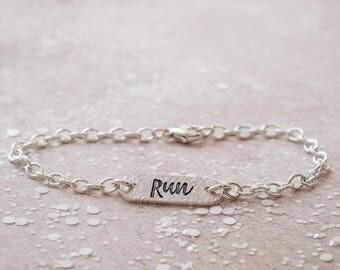 Run Identity Bracelet - Running Jewellery, Bracelet for Runner, Running Gift, Gift for Runner, Silver Identity Bracelet, Running Jewellery