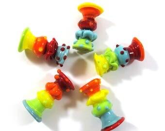 Totem beads, Lampwork beads. Lampwork beads set.  colorful (5) SRA