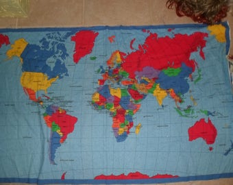Vintage world map etsy fabric panel world map colorful 35 x 59 publicscrutiny Gallery