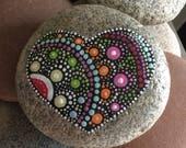 Hand painted Heart mandala stone, rock, paperweight