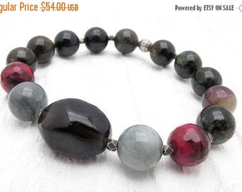 tourmaline bracelet, smoky quartz bracelet, stretch bracelet, stacking bracelet, boho bracelet, Hill Tribe silver, autumn colors, jasper,