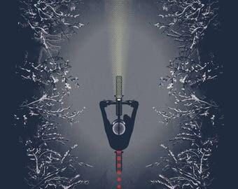 Snow Beacon - ARTCRANK Minneapolis Screen printed fatbike, singletrack, winter bike art with metallic silver ink