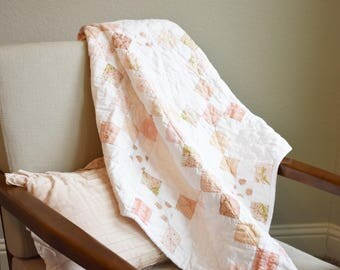 Vintage Chic Pink and White Crib Quilt