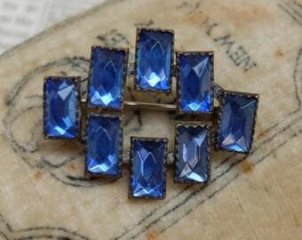 Antique Deco Metal Pin Prong Set Rhinestones Blue Glass
