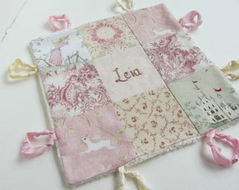 Baby Girl Lovey with Custom Hand Embroidery Name or Initial ~ Choice of Backing Fabric ~ Pink Blush White Rose ~ Toile Cherub Bunny Castle