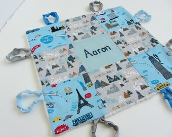 Baby Boy Lovey Personalized with Hand Embroidery ~ Choice of Backing Fabric ~ Adventure Awaits ~Travel ~Paris NYC Rome London ~Nursery Decor