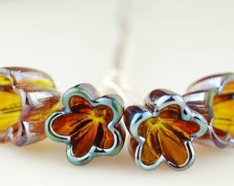 Handmade Iridescent Amber Pink Glass Bellflower Lampwork Headpins by Lara