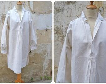 Vintage Antique 1900s French Victorian /Edwardian long 100% linen Men shirt