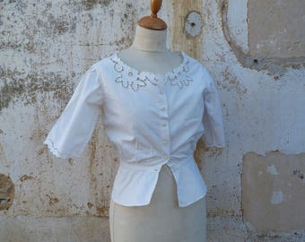 Vintage Antique Edwardian French Top  Cache Corset 1900/1910 blouse embroidered open work  white cotton size S