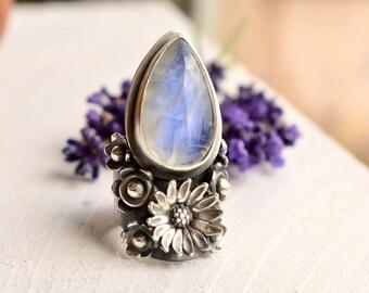 FINAL DEPOSIT LISTING For Krystal ---------------Silver Saddle Ring, Botanical Ring, Rainbow Moonstone Ring, Flower Ring in Detailed Setting