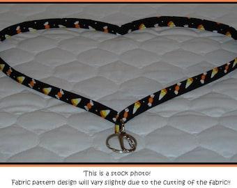 Halloween Candy Corn fabric lanyard for ID badge