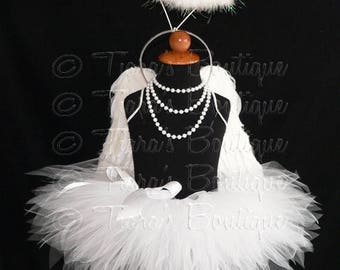 """SUMMER SALE 20% OFF Angel Tutu Costume w/ Halo - 8"""" Tutu, Angel Wings, and Feather Halo Headband - For Girls, Babies, Toddlers - Valentine's"""