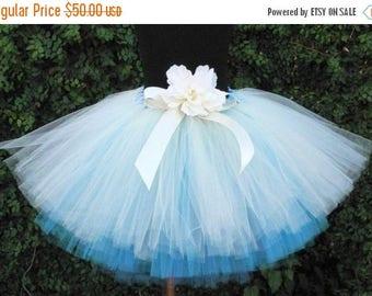 "SUMMER SALE 20% OFF Flower Girl Tutu Skirt for Weddings, Ocean Spray, Custom Sewn Three Tiered Tutu, 12"" length"