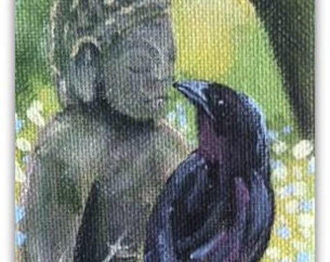Mini original Buddha and raven painting