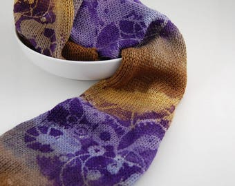 """Double Knit Sock Blanks- """"Brass Octopus"""" Brown, mustard,twilight grey and lilac stripes with purple machine stencil on top"""