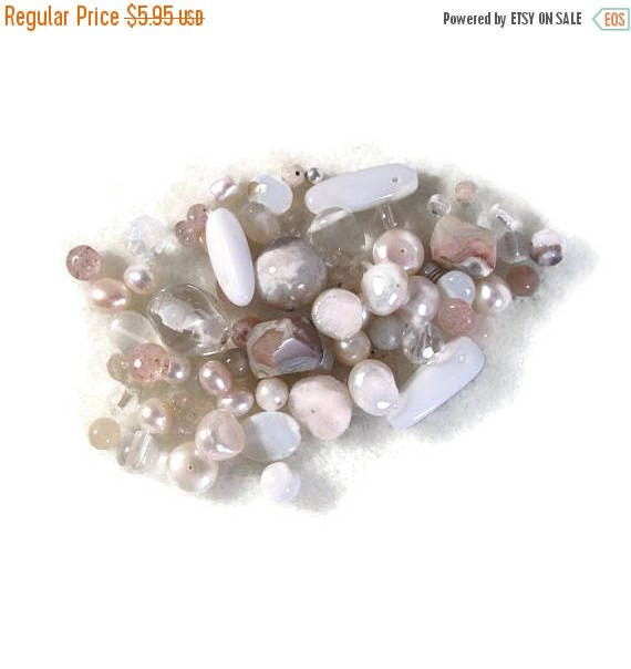 Memorial Day SALE - Gemstone Bead Mix, Brown, White, Cream Gemstone Grab Bag, 28 Beads for Making Jewelry, Assorted Shapes and Sizes (L-Mix1
