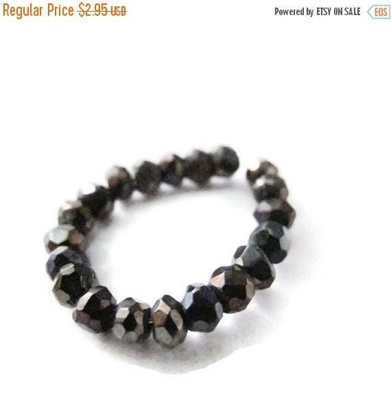 Summer SALEabration - Mystic Black Spinel Beads, Black Spinel Rondelles, Faceted 3.5mm Natural Gemstones, 16 Count, Jewelry Supplies (L-Sp6)