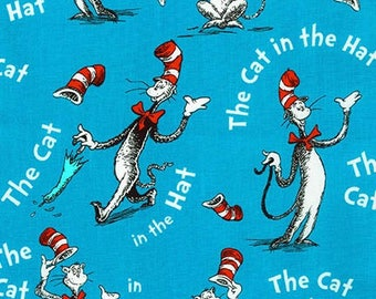 Dr Seuss,  Vintage style Cat in the Hat on Blue by Robert Kaufman, yard
