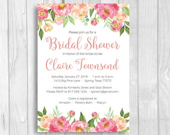 Coral and Pink Peonies 4x6 or 5x7 Custom Printable Bridal Shower Invitations - Coral and Pink Watercolor Flower Invites