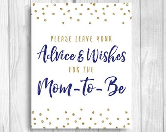 Please Leave Your Advice and Wishes for Mom-to-be 5x7, 8x10 Printable Baby Shower Guest Book Sign - Navy  Blue Gold Glitter Polka Dots