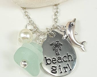 Sea Glass Necklace Sea Glass Jewelry Aqua Sea Glass Pendant Beach Girl Necklace Sea Glass Jewelry N-539
