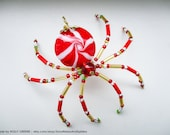Red and White Peppermint Swirl Twist Candy Cane Christmas Spider Beaded Ornament