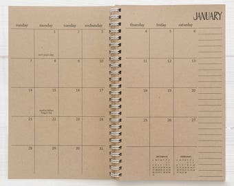 2017 - 2018 small kraft monthly academic spiral planner | august to december
