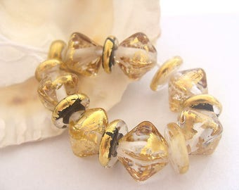 15 Golden Handmade Lampwork Beads