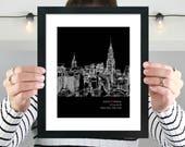 New York City Skyline, Personalized New York Art, New York Wedding Gift, Anniversary, New York City, Engagement Gift, Skyline - 8x10 Print