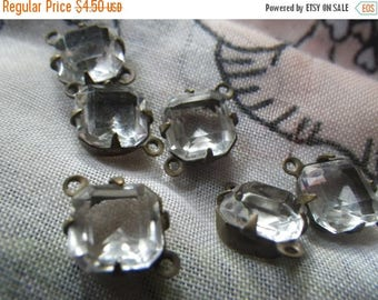 SALE 30% Off Crystal Clear Vintage Square Octagon 8x8mm Unfoiled Glass Connectors Two Loops 6 Pcs