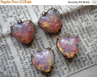 SALE 20% Off Vintage Pink Harlequin Opal 15x14mm Cabochon Top Glass Heart Drops 4 Pcs