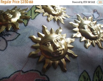 SALE 20% Off Serene Sunshine Extra Large Brass Sun Charms or Stamp Blanks 34mm 4 Pcs