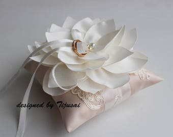 Beige Wedding pillow with Lily flower and embroiderings---ring bearer pillow, wedding rings pillow , wedding pillow
