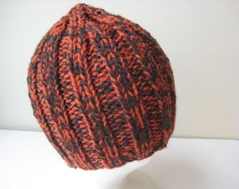 orange and gray knit wool hat