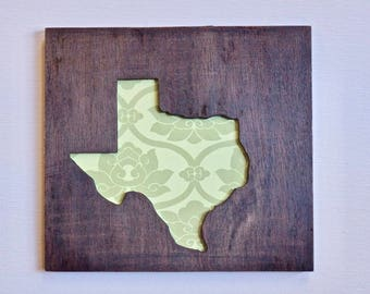 Texas - Pattern Green Sign - Farmhouse - Rustic - Wood Stained -READY TO  SHIP - In Time For Christmas-  Order By December 19th
