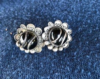 Onyx mexican style earrings