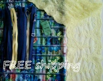 FREE Ship DIY Fabric + Notions Sheer Flowered Stripes & Yellow for 1 BRA + Panty by Merckwaerdigh