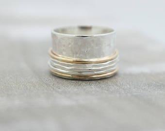 Sterling Silver Gold Fiddle Meditation rings - Spinner Ring