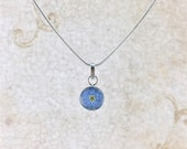 Forget me not Necklace, Miniature Forget me not Flower, Forget me not Sterling Silver Mini Pendant White Background