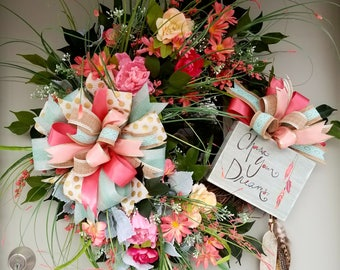 Chase Your Dreams,Grapevine & Silk Flower, Large Ribbon, Feather, Wreath for Door or Wall to Enjoy Everyda y
