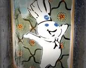 Pillsbury Dough Boy Mixed Media Graffiti Art Painting on Photo Transfer Original Art on Handmade Canvas Home Decor  Kitchen Art