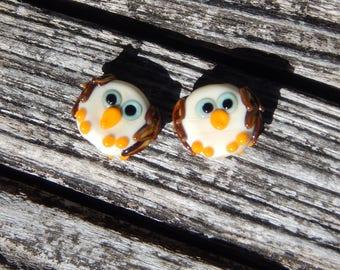 Hoot Owls,  Lampwork Bead Pair, Simply Lampwork by Nancy Gant, SRA G55