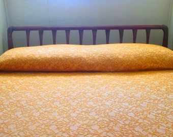 Vintage Bates Gold Woven Cotton Bedspread - Full Size Fringed Bedspread - Made in USA 1970s